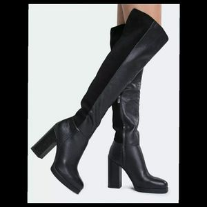 Circus Sam Edelman TATUM Over The Knee Thigh Boots Black Leather MSRP $250 NEW